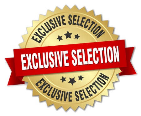 exclusive: exclusive selection 3d gold badge with red ribbon