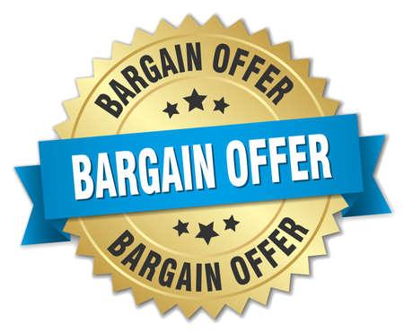 bargain: bargain offer 3d gold badge with blue ribbon Illustration