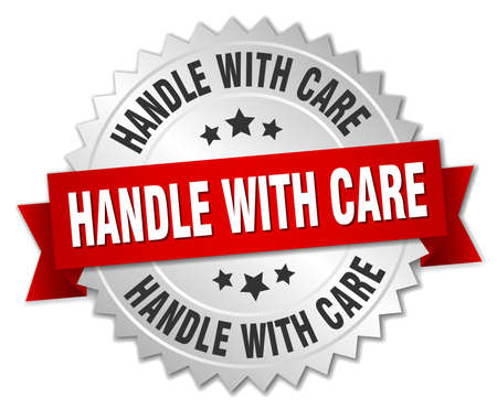 handle with care: handle with care 3d silver badge with red ribbon