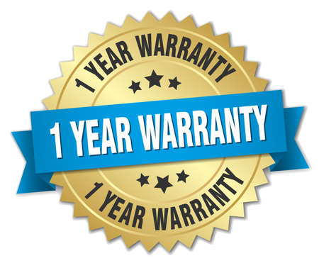 1 year warranty: 1 year warranty 3d gold badge with blue ribbon