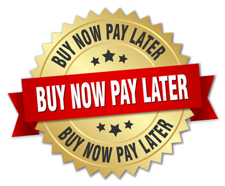buy now pay later 3d gold badge with red ribbon