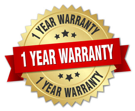 1 year warranty: 1 year warranty 3d gold badge with red ribbon