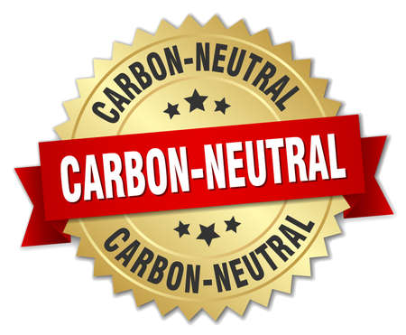 co2 neutral: carbon-neutral 3d gold badge with red ribbon