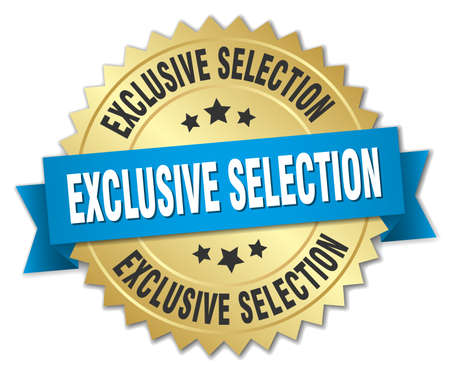 selection: exclusive selection 3d gold badge with blue ribbon