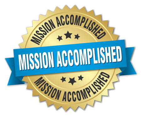 accomplish: mission accomplished 3d gold badge with blue ribbon