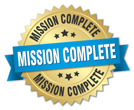 accomplish: mission complete 3d gold badge with blue ribbon