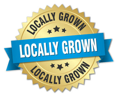 grown: locally grown 3d gold badge with blue ribbon