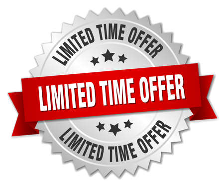 limited time offer 3d silver badge with red ribbon Vettoriali