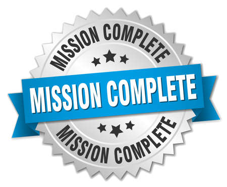 accomplish: mission complete 3d silver badge with blue ribbon