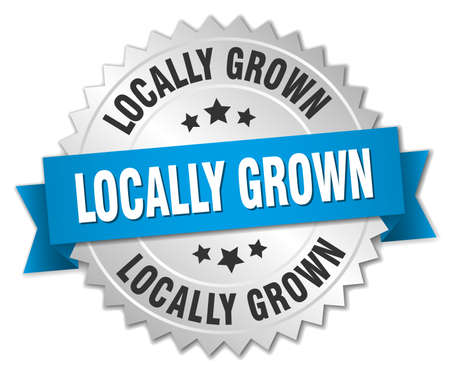 locally: locally grown 3d silver badge with blue ribbon Illustration