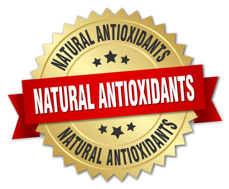 antioxidants: natural antioxidants 3d gold badge with red ribbon Illustration