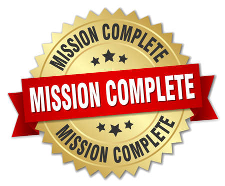 accomplish: mission complete 3d gold badge with red ribbon