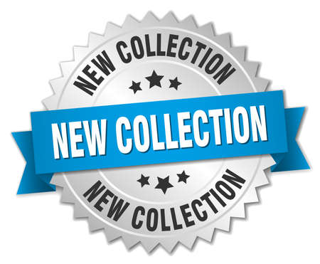 new collection: new collection 3d silver badge with blue ribbon Illustration