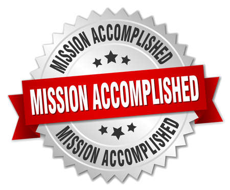 accomplish: mission accomplished 3d silver badge with red ribbon