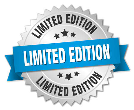 limited edition: limited edition 3d silver badge with blue ribbon Illustration