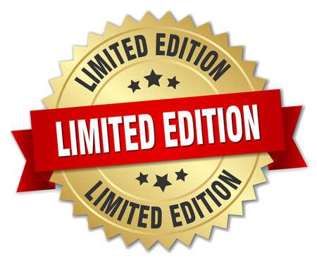 Edición limitada insignia 3d de oro con la cinta roja Foto de archivo - 44622937