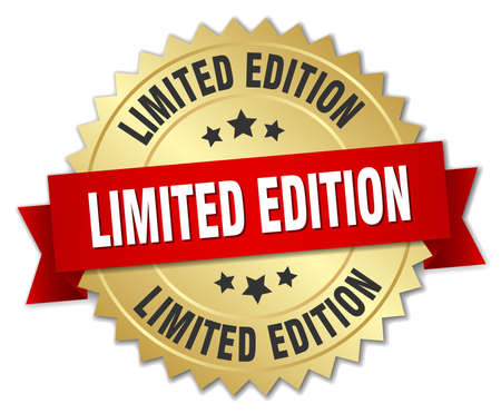 limited edition 3d gold badge with red ribbon Illustration
