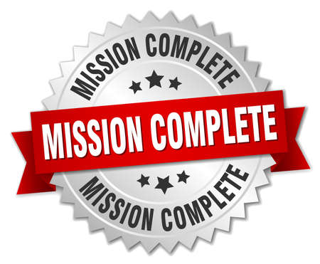 accomplish: mission complete 3d silver badge with red ribbon