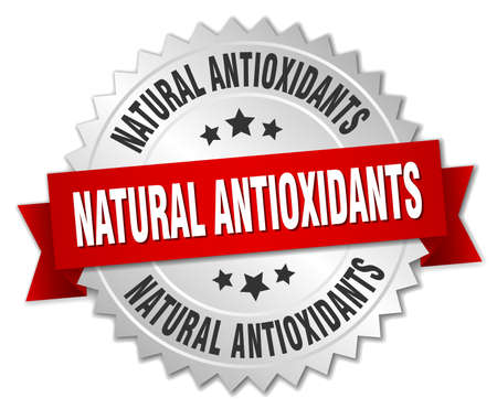 antioxidants: natural antioxidants 3d silver badge with red ribbon Illustration