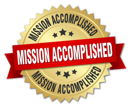 accomplish: mission accomplished 3d gold badge with red ribbon Illustration