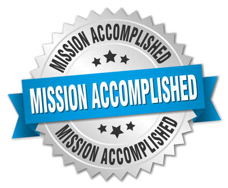 accomplish: mission accomplished 3d silver badge with blue ribbon