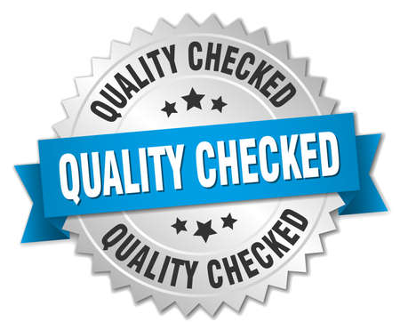quality checked 3d silver badge with blue ribbon