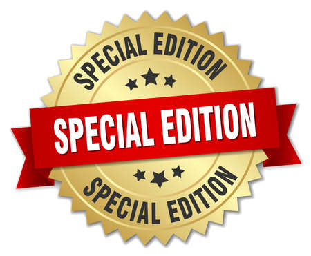 special edition 3d gold badge with red ribbon Stock Illustratie