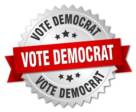 democrat: vote democrat 3d silver badge with red ribbon