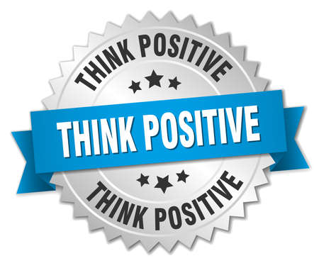 think positive: think positive 3d silver badge with blue ribbon