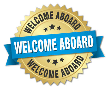 aboard: welcome aboard 3d gold badge with blue ribbon