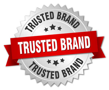 trusted: trusted brand 3d silver badge with red ribbon Illustration