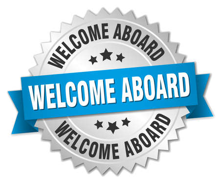 aboard: welcome aboard 3d silver badge with blue ribbon