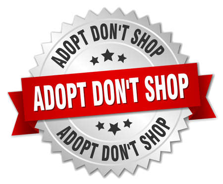 don't: adopt dont shop 3d silver badge with red ribbon Illustration