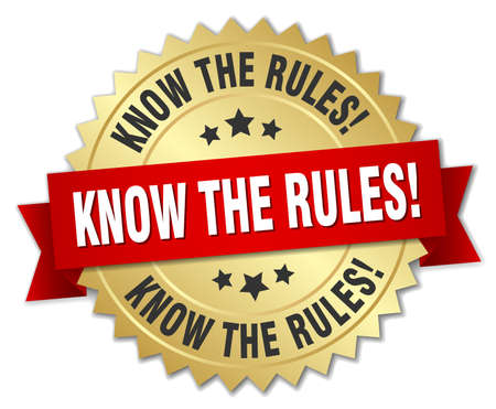 golden rule: know the rules! 3d gold badge with red ribbon Illustration