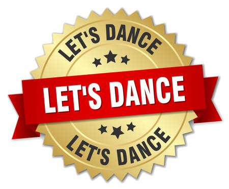 let's dance 3d gold badge with red ribbon Illustration