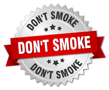 dont: dont smoke 3d silver badge with red ribbon