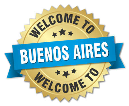 aires: Buenos Aires 3d gold badge with blue ribbon