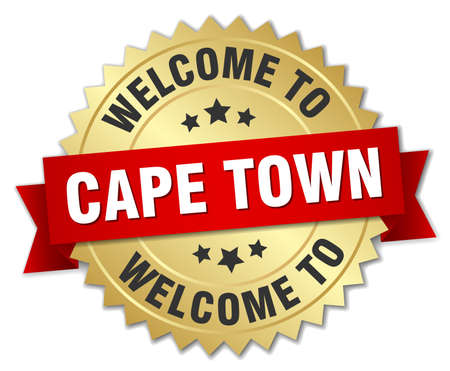 cape town: Cape Town 3d gold badge with red ribbon