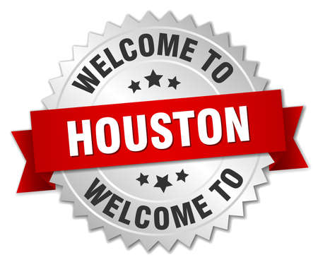 houston: Houston 3d silver badge with red ribbon