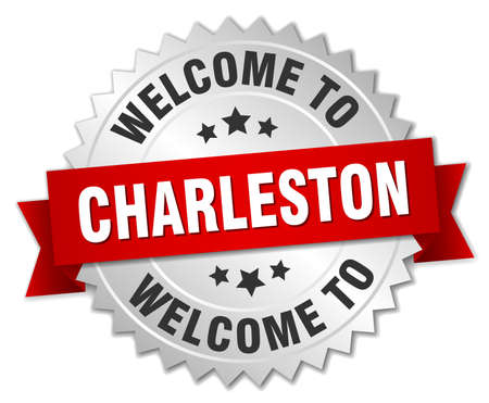 in charleston: Charleston 3d silver badge with red ribbon