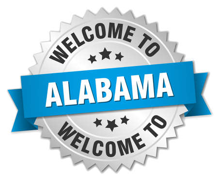 alabama: Alabama 3d silver badge with blue ribbon