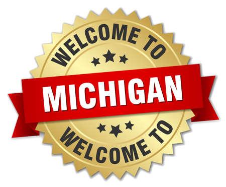 michigan: Michigan 3d gold badge with red ribbon