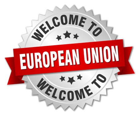 evropský: european union 3d silver badge with red ribbon Ilustrace