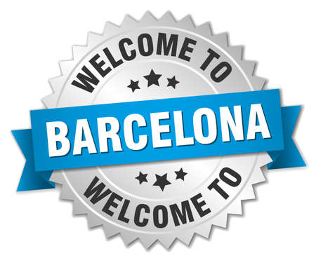 barcelona: Barcelona 3d silver badge with blue ribbon