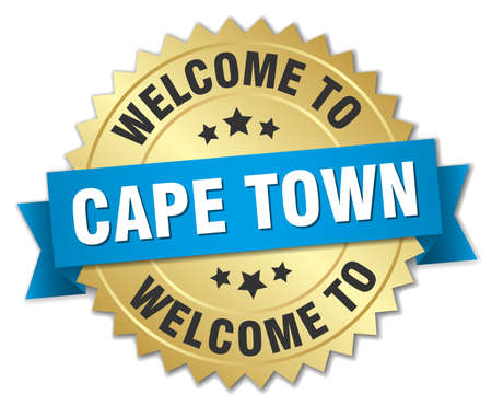 cape town: Cape Town 3d gold badge with blue ribbon Illustration