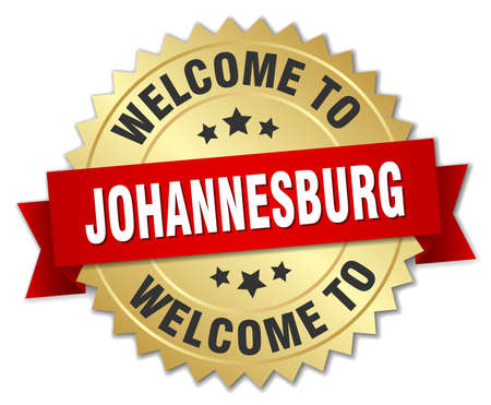 johannesburg: Johannesburg 3d gold badge with red ribbon Illustration