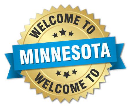 minnesota: Minnesota 3d gold badge with blue ribbon Illustration
