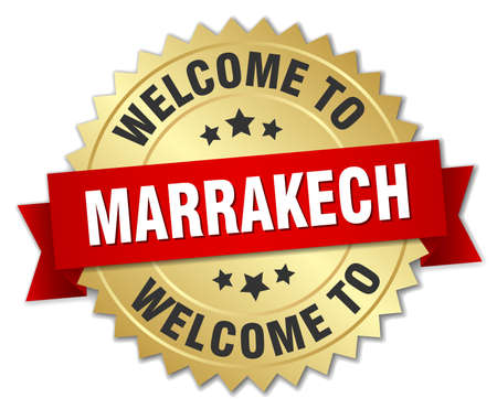 marrakech: Marrakech 3d gold badge with red ribbon Illustration