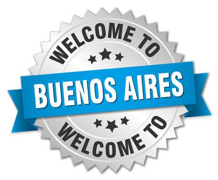 buenos aires: Buenos Aires 3D Silber Abzeichen mit blauen Band Illustration