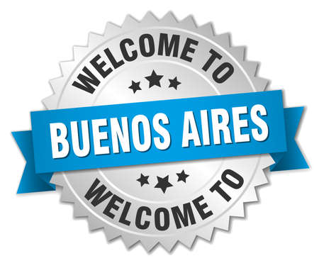 aires: Buenos Aires 3d silver badge with blue ribbon Illustration